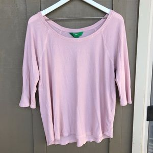 cozy millennial pink waffle knit long sleeve tee